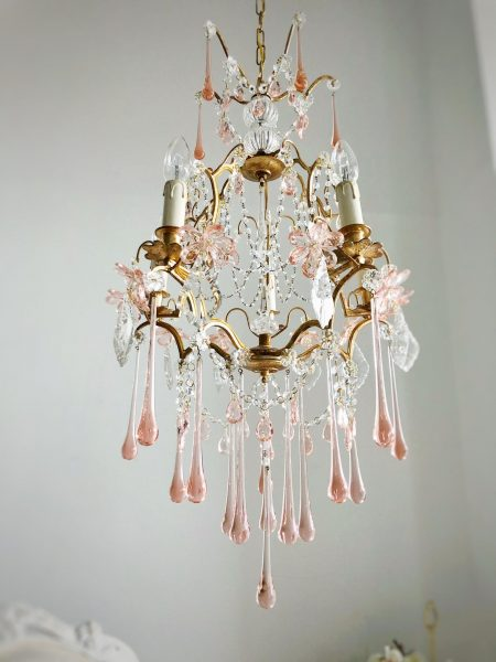 French Chandelier pink Murano drops