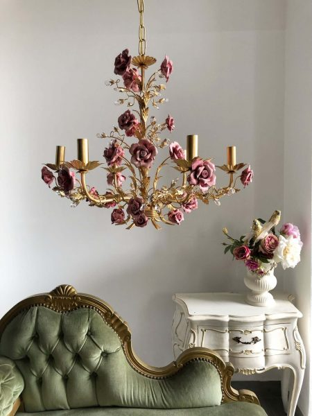 Laurie pink roses gold leaf chandelier