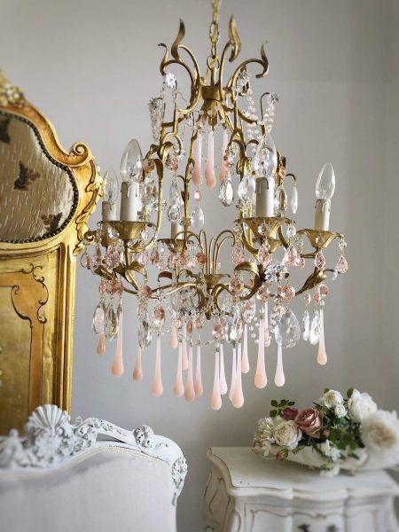 Italian vintage chandelier pink opaline drops