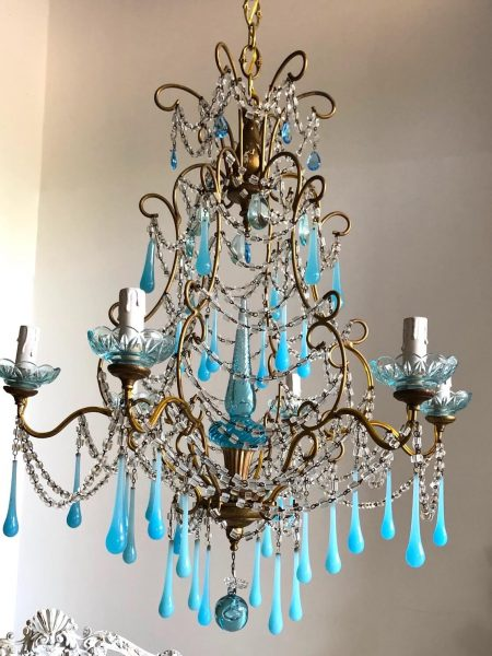 Rare antique turquoise opaline glass Murano drops gilt chandelier