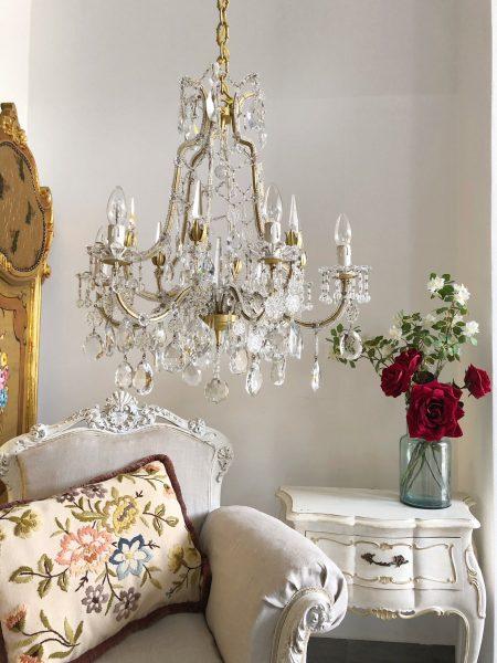 Antique Italian gold leaf crystal beaded chandelier, 6 lights