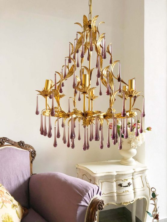 ameythst Murano glass drops chandelier