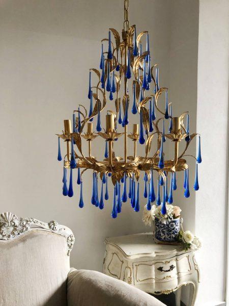 Blue Murano glass drops gold leaf chandelier,